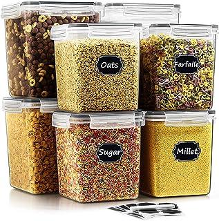 Wildone Lot de 8 récipients hermétiques de stockage alimentaire sans BPA pour sucre, farine, collation, matériel de cuisso...