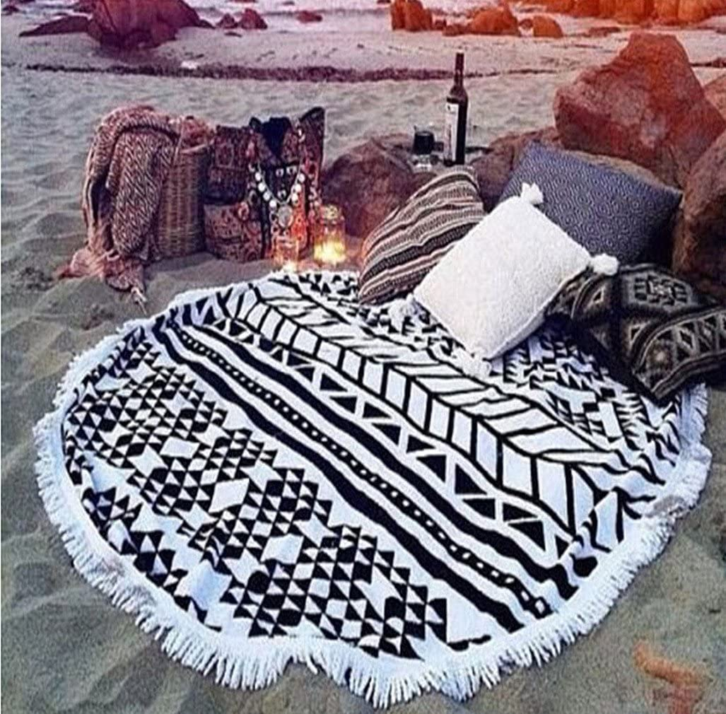 cckiise Round Mandala Tapestry Indian Wall Hanging Beach Throw Towel Yoga Mat Sunscreen Shawl wrap Skirt Tassels Cotton Beach Towel (Black2)