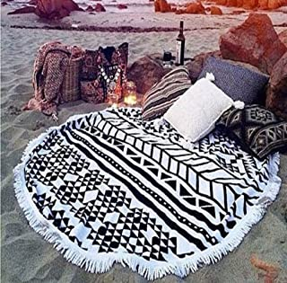 cckiise Round Beach Throw Towel Mandala Tapestry Indian Yoga Mat Tassels Circle Beach Blanket 61