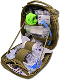 "Lightning X Products Premium Nylon MOLLE Pouch Emergency Kit, Ideal for Tactical Medics, Military, Outdoor Enthusiasts (8"" x 6.5"" x 3"", Black or Tan, for Gunshot Wounds & Bleeding Control)"