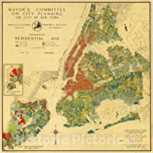 Historic Pictoric Map : New York City, New York 1935, Predominant Residential Age, Antique Vintage Reproduction : 16in x 16in