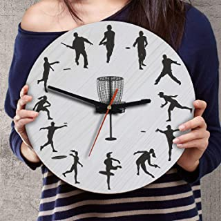 VTH Global 12 Inch Silent Battery Operated Disc Golf Wood Wall Clocks Gifts for Men Women Disc Golfers Team Players Fans Coaches Lovers
