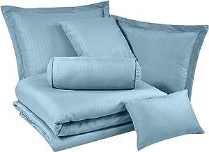 Chezmoi Collection Lex 7-Piece Hotel Style Dobby Striped Comforter Bedding Set-California King, Spa Blue