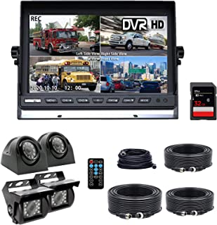 Backup Camera System, DOUXURY 4 Split Screen 9'' Quad View Display HD 1080P Monitor with DVR Recording Function, IP69 Wate...