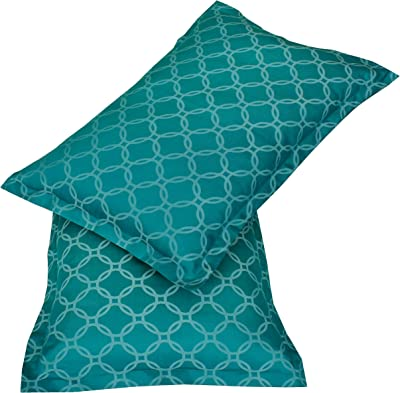 Amazon Brand - Solimo Twilight Circles 500 TC Cotton Blend Double Bedsheet with 2 Pillow Covers, Turquoise Blue