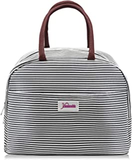 Yansanido Lunch Bag Large Size Waterproof Tote Bag Lunch Organizer Lunch Holder Insulated Lunch Cooler Bag for Women/Men (Black White Stripes)