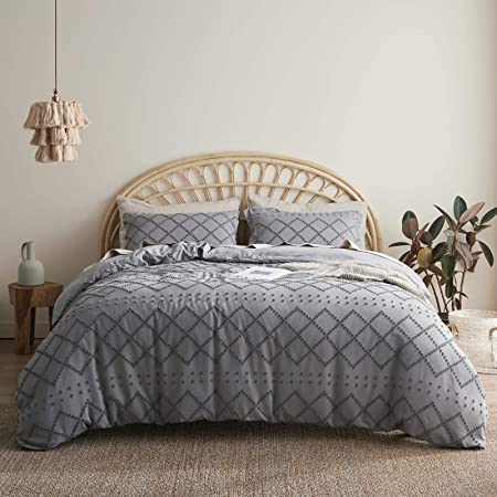 Bedsure Tufted Duvet Cover Set Twin Size, 2 Pieces Embroidery Shabby Chic Comforter Cover Set, Soft and Durable Bedding Set for All Seasons, Grey