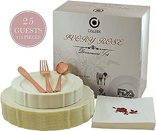 Disposable Plastic Dinnerware Set - 175 Piece / 25 Guest Ivory Plates, Rose Gold Cutlery, Elegant Heavy Duty Silverware – 25 Dinner Plates, 25 Dessert Plates, 25 Forks|Knives|Spoons|50 Design Napkins