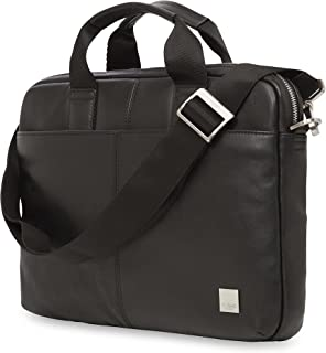 """Knomo Brompton Classic Stanford, 13"""" Leather Laptop Briefcase, with Removeable Strap and RFID Pocket, Black"""