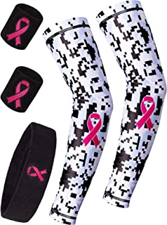 Gejoy Breast Cancer Arm Sleeves and Pink Ribbon Headband Wristband Set Cancer Awareness Accessories Sweatband for Exercise