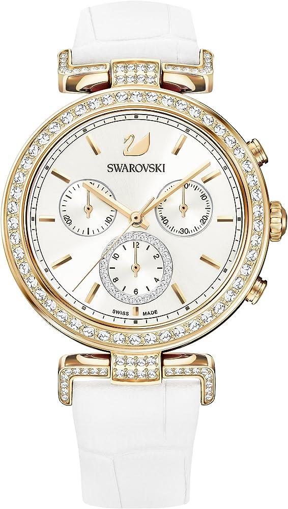 Swarovski era journey, orologio cronografo da donna in acciaio e pelle 5295369