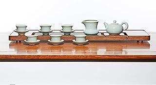 YASI Porcelain Gong Fu Tea Set 280ml/9.4OZ Pottery Tea Set wtih 1 Tea Pot, 1 Fair Cup, 6 Teacups and 1 Strainer- Azure Crackled Glaze Ruyao Pear Tea Set