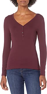 Amazon Essentials Women's Ribbed Knit Long Sleeve Henley Slim Fit T-Shirt