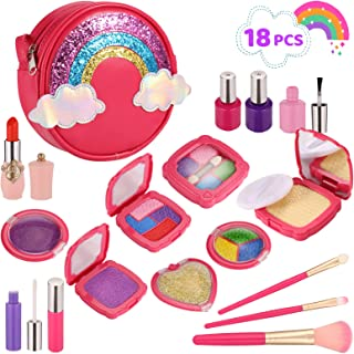 Esnowlee Makeup Kits for Girls 18PCS Kids Pretend Play Makeup Toy Set with Rainbow Bag for Little Girls Birthday Gifts