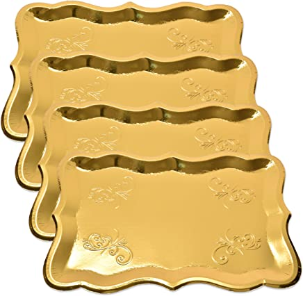 """10 Gold Rectangle Trays for Dessert Table Serving Parties 9"""" x 13"""" Heavy Duty Disposable Paper Cardboard in Elegant Shape for Platters, Cupcake, Birthday Parties, Dessert, Weddings and More Food Safe"""