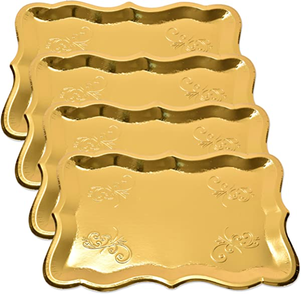 10 Gold Rectangle Trays For Dessert Table Serving Parties 9 X 13 Heavy Duty Disposable Paper Cardboard In Elegant Shape For Platters Cupcake Birthday Parties Dessert Weddings And More Food Safe
