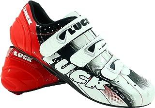 LUCK Zapatillas de Ciclismo EVO Rojo, para Carretera, con Suela de Carbono,Muy rigida y Ligera y Triple Tira de Velcro. Ho...