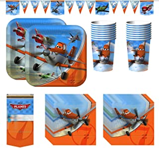 Disney Planes Party Bundle With Plates, Napkins, Cups, Tablecover, and Banner (16 Guests)