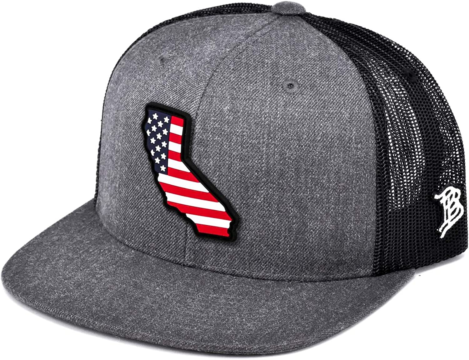 Branded Bills California Rogue Patriot PVC Patch Hat Flat Trucker - One Size Fits All