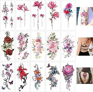 Keleily Blumen Temporäre Tätowierungen 15 Blatt Temporäre