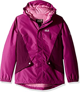 Jack Wolfskin Girl's G Kayak Falls Waterproof Insulated Jacket, Dark Peony, Size104(3-4)