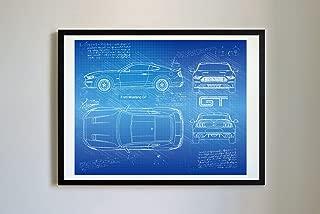 DolanPaperCo #267 Ford Mustang GT 2018 Art Print Art Print, da Vinci Sketch - Unframed - Multiple Size/Color Options (16x20, Blueprint)