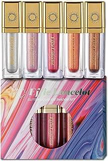 Glittery Liquid Eyeshadow – Set of 5 Colors Sparking Long-Lasting Waterproof Highlighter Makeup Eye Shadow Gift Set