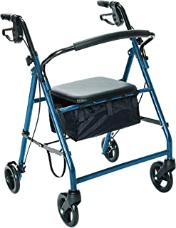 Essential Medical Supply Essential Rollator with Loop Brakes and Wheels, Blue