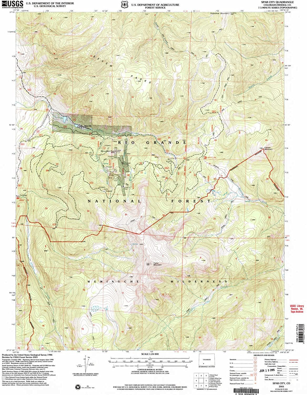 Spar City CO topo map, 1 24000 Scale, 7.5 X 7.5 Minute, Historical, 2001, Updated 2005, 26.7 x 22.1 in