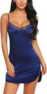 ADOME Women's Satin Nightgown Sexy Lingerie Lace Chemises Slip Sleepwear