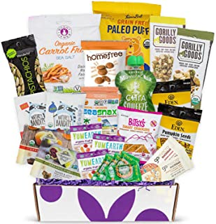 Organic Snack Box Care Package- Assortment Of All Certified Organic Healthy Snack Bars, Cookies, Fruit Snacks, Chips & Swe...