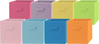 Pomatree Fabric Storage Bins - 8 Pack - Fun Colored Durable Storage Cubes | 2 Reinforced Handles | Foldable Cube Baskets for Home, Kids Room, Nursery and Playroom | Closet and Toys Organization