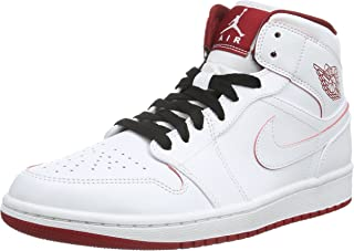 Nike Men's Air Jordan 1 Mid White/Black/Gym Red Basketball Shoe - 13 D(M) US