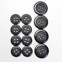 黒色ボタン 4穴 スーツ 1着分セット ジャケット カーディガン 手芸 最適 981-15-BK-018 981-20-BK-019 (スーツ1着分セット 20mm:4個入 15mm:8個入)