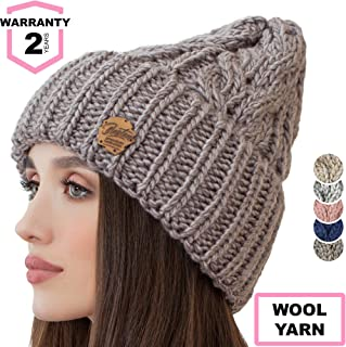Braxton Knit Hat for Women - Ski Cable Winter Cuff Warm Toboggan Beanie - Wool Snow Outdoor Cap