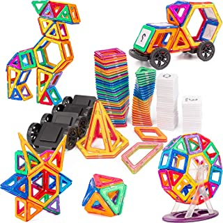 cossy Magnet Tiles Building Block, 115 PCs Magnetic Stick and Stack Set for Girls and Boys, Perfect STEM Educational Toys for Kids Children