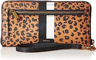 Fossil Women's Logan Leather RFID-Blocking Zip Around Clutch Wallet with Wristlet Strap