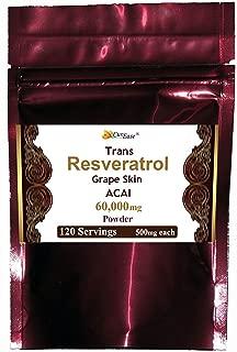 Trans Resveratrol Grape Skin Acai Berry Powder 60g 500mg 120 Servings