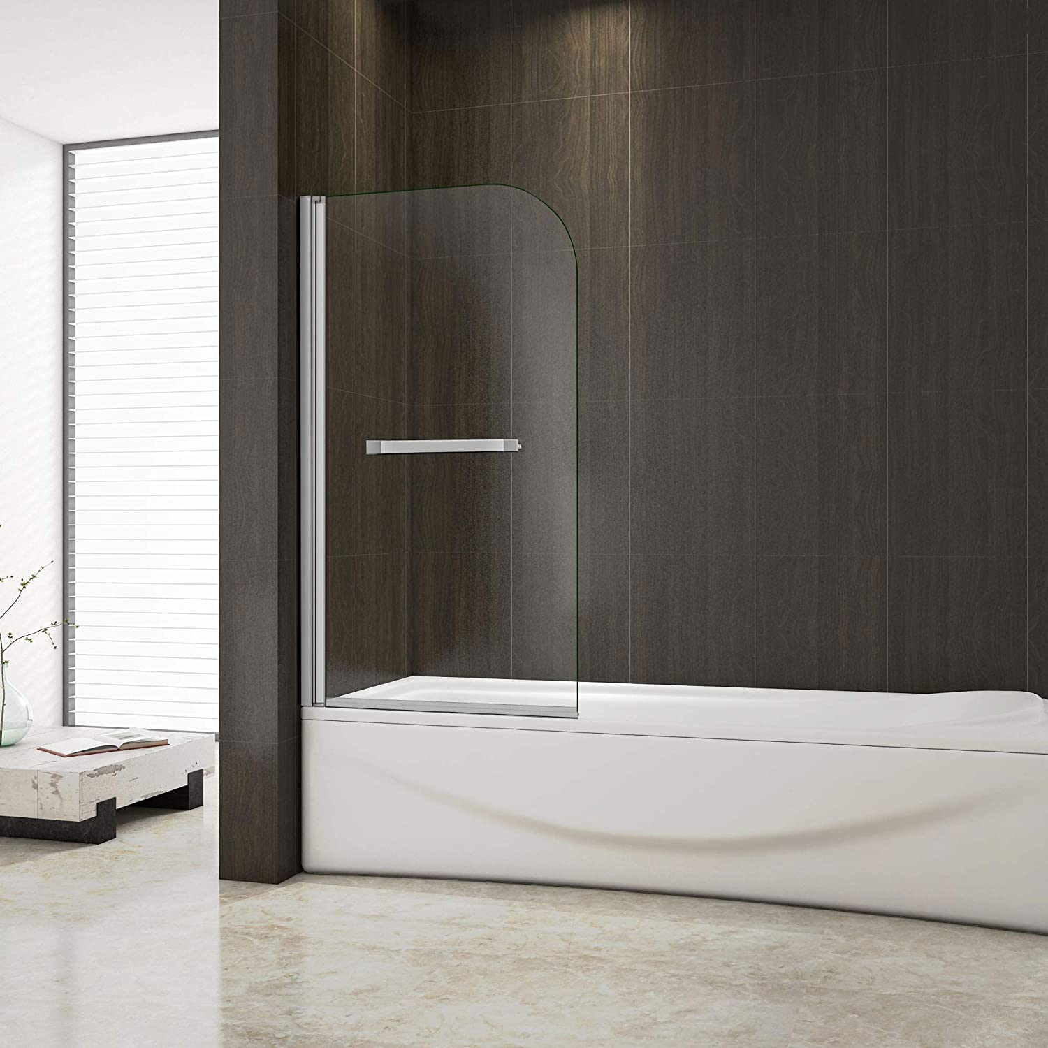 Aica Bathrooms 800mm Bath 180°Pivot Shower Screen Glass Panel with Handle, aluminum Electroplating White, 800x1400mm