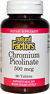 Natural Factors - Chromium Picolinate 500mcg, Supports a Healthy Glucose Metabolism, 90 Tablets