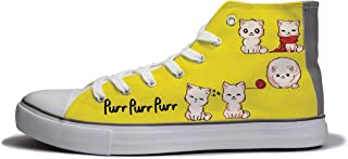 Rivir Latest & Stylish Printed Canvas High Top Sneakers Shoes for Men & Women-Yellow