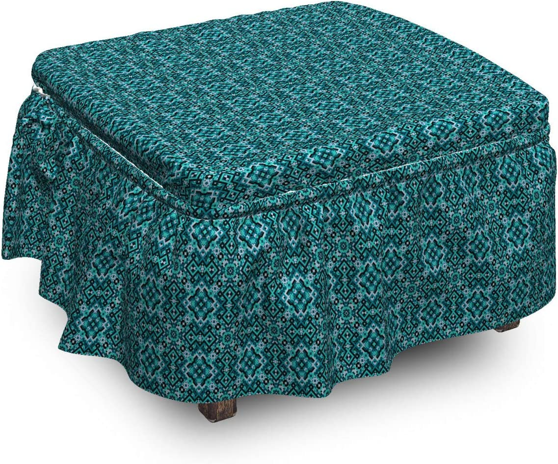 Lunarable Max 66% OFF Tribal Ottoman Cover 2 Ornaments Folklore excellence Geometric