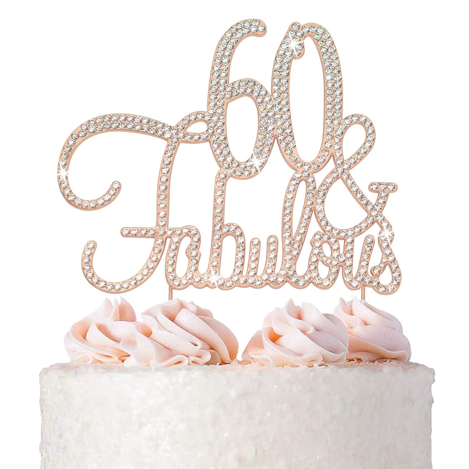60 Cake Topper - Premium Free shipping anywhere in the nation Rose and At the price Fabulous Gold 60t Metal