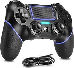 Enouvos Controlador inalámbrico para Playstation 4, PS4 Mando a distancia compatible con Playstation 4/Slim/Pro/PC Windows con doble vibración, mini indicador LED y cable USB