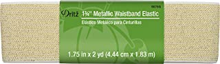 Dritz Metallic Waistb and Elastic, 1-3/4 by 2-Inch, White with Gold, Acrylic, Multicolour, 16.51x4.44x2.79 cm