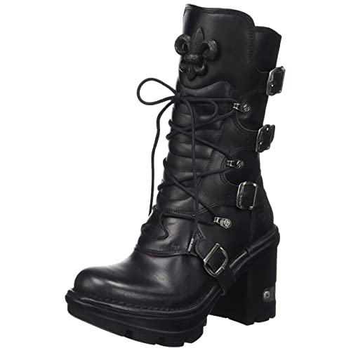 Women Floral Real Leather Mid-calf Boots Steel Stud Rock Punk Motorcycle Shoes