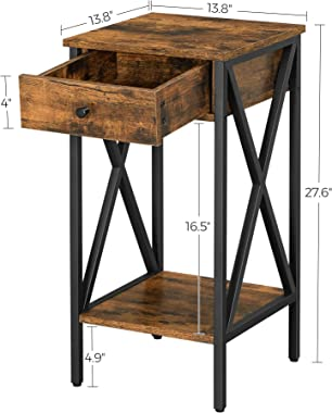 VASAGLE VINCYER Nightstand, End Table, Side Table, Tall Nightstand with Drawer and Storage Shelf, Industrial, Rustic Brown an