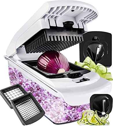 Fullstar Cutter-Veggie Spiralizer Slicer Onion Vegetable Pro-Food Choppers and Dicers, 1 pc Black white