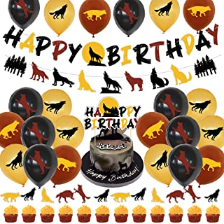 Klionjor Birthday cake topper The wolf and the werewolf roar at the moon birthday cake party
