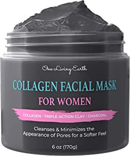 One Living Earth Collagen Face Facial Mask for Women - Deep Cleansing with Triple Action Clay & Activated Charcoal - Pore ...